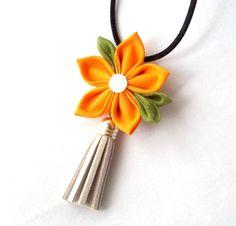 Tassel Necklace with Orange Kanzashi Flower by ScarlettandMaria