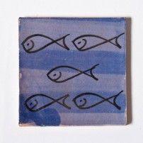 "Fliese ""poissons bleue"", blau/schwarz, L 10 cm, B 10 cm, H 1cm"