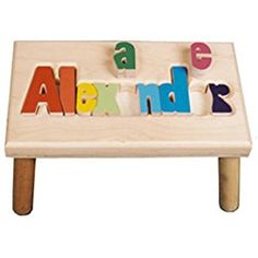 Personalized Gifts for Babies and Children! Our gifts are safe for children to use. Find hand painted personalized piggy banks, personalized step stools, name puzzle stools and other personalized baby products Personalized Puzzles, Personalized Baby, Fun Puzzle Games, Ale, Name Puzzle, Science Toys, Kid Names, Wood Colors, Educational Toys