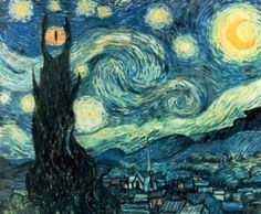 II. Starry Night - Lord of the Rings. @Kim O'Rourke B. Great idea for nerdy art projects. Mixing classic style, modern themes