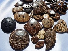 Coconut Shell Buttons and Feature Pack 50pcs