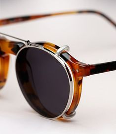 Illesteva Capri light tortoise eye glasses with clip-on sunglass lenses