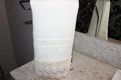 Toalha de Lavabo de cambraia de linho