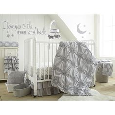 "Babies R Us Exclusive. The Willow Gray Nursery Collection.<br> <br>The Levtex Baby Willow 5-Piece Crib Bedding Set - Gray Features:<br><ul><li>The 5 Piece Crib Bedding Set includes a Quilt, 100% Cotton Crib Fitted Sheet.</li><br><li>And 3-tiered Dust Ruffle, Diaper Stacker and metallic silver Wall Decals with the phrase ""I love you to the moon and back"" featuring a crescent moon and star.</li></ul>"