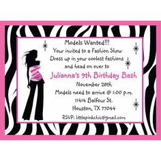 Image detail for -fashion show birthday invitation, fashion birthday invitation