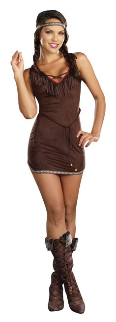 Buy Women's Indian Costume at 47% Saving!. Includes: Ultrasuede brown dress with Native American trim, headband, and belt. Available sizes : Boots not included. We offer 47% Saving! on this costume.This costume is also known as Adult Costumes costume,  Adullt Halloween Costume costume, womens Costumes costume,  womens Halloween Costumes costume, women costume, NATIVE AMERICAN Costumes costume, NATIVE AMERICAN Halloween Costumes costume, Women's Indian Costume costume