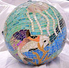Koi by glassydame Mosaic Garden, Mosaic Art, Mosaic Glass, Garden Art, Garden Design, Stained Glass, Mosaic Bowling Ball, Bowling Ball Art, Garden Balls