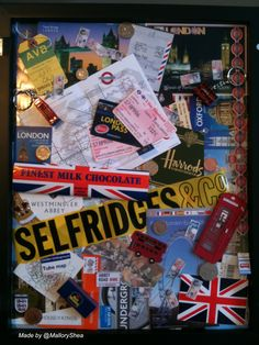 London Collage I made in shadowbox frame.