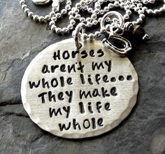 Sterling Silver Hand stamped Horse Quote Necklace for Equestrian or Horse Lover.. via Etsy.