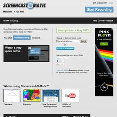 Screencast-o-Matic is a free web-based screencasting tool you can use to capture your screen without downloading any software - http://www.screencast-o-matic.com/