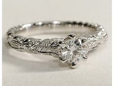 Love the organic stye  eiros? Ivy Round Cut Diamond Engagement Ring in 14k White Gold #BlueNile
