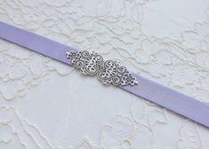 Light purple belt. Elastic waist belt. Dress belt. Lavender belt. Bridal belt. Silver filigree belt. Bridesmaids belt. Stretch belt. by MissLaceAccessories on Etsy
