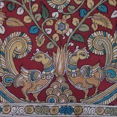 Kalamkari, kalam (pen in persian) and kari (craftmanship).Andhra Pradesh craft evolved during Mughals & the… Pichwai Paintings, Mural Painting, Fabric Painting, Kalamkari Painting, Madhubani Painting, Traditional Paintings, Traditional Art, Kalamkari Designs, Hand Painted Sarees
