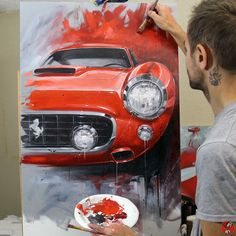 View the gallery of paintings by Chris Dunlop/Pinstripe Chris to see how automotive stories are expressed through paint Ferrari, Lamborghini, Speed Art, Car Drawings, Automotive Art, Car Painting, Cool Posters, Paint Designs, Automobile
