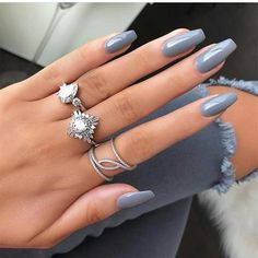 nails gray and white / nails gray & nails gray and pink & nails gray glitter & nails gray matte & nails gray and white & nails gray blue & nails gray ombre & nails gray and black Gray Nails, Nude Nails, White Nails, Yellow Nails, Purple Nails, Glitter Nails, Manicure E Pedicure, Manicure Colors, One Color Nails