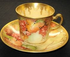 Antique HP Gold Elaborate Signed C 1940 CUP AND Saucer | eBay