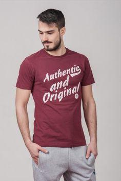 """Ανδρικό T shirt """"Authentic & Original"""" Burgundy"""