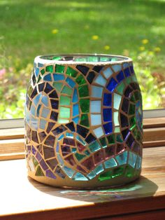 Stained Glass Mosaic Candle Holder by valleybeadglassart on Etsy, $15.00