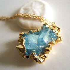 Kahili CreationsAqua aura cluster necklace