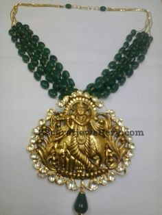 Lord Krishna Locket with Emerald Beads - Jewellery Designs
