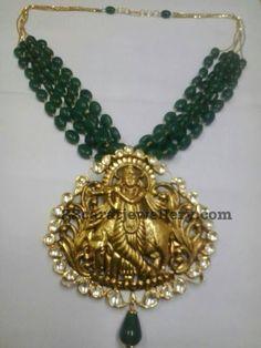 Lord Krishna Locket with Emerald Beads - Jewellery Designs