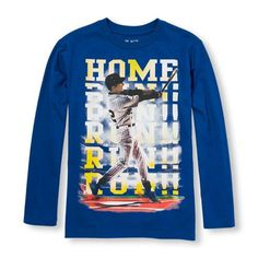 s Boys Long Sleeve 'Home Run' Hitter Graphic Tee - Blue T-Shirt - The Children's Place