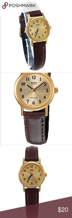 Casio Wmn Leather Quartz Watch Gold Dial Slim Casio Women's LTP1094Q-9B Brown Leather Quartz Watch with Gold Dial, never worn and in BRAND NEW condition!  Great as a delicate accent for any outfit! Casio Accessories Watches