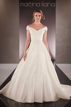 b36dc4a09295 Off-the-shoulder a-line satin wedding dress by Martina Liana