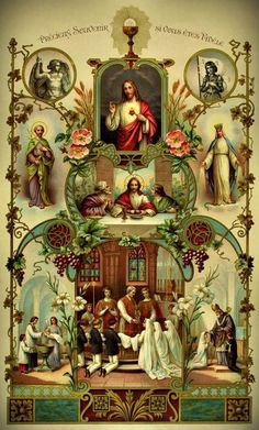 Beautiful depiction of the communion of saints and the Sacred Heart of Jesus! Catholic Prayers, Catholic Art, Catholic Saints, Roman Catholic, Religious Images, Religious Icons, Religious Art, Image Jesus, Catholic Pictures