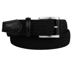 Woven Elastic Stretch Belt black, finishes tone on tone genuine calf  Leather. An elegant and exclusive product made with our best materials. 36b13e13a5e