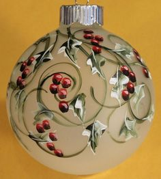 Frosted Holly Glass Christmas ornament hand painted and signed by artist