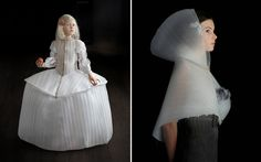 """When I looked closely, I discovered that these """"fashions"""" were actually made out of packing insulation.  How imaginative is that to take sheets of that light weight material that encircled a new laptop and re-purpose it into wearable art inspired by 16th and 17th century Flemish and Dutch paintings?  Well, artist Suzanne Jongman did just that."""