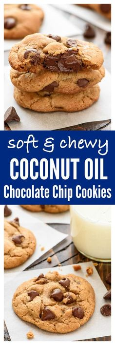 The BEST Chocolate Chip Coconut Oil Cookies — Move over butter! Coconut oil makes theses cookies super soft and thick, and they are good for you too. NO BUTTER required!