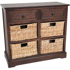 Show details for Espresso Cabinet with Wicker Drawers