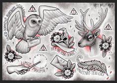 Harry Potter themed tattoo flash page by kirstynoelledavies.deviantart.com on @deviantART