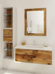 modern bathroom cabinets made of natural wood