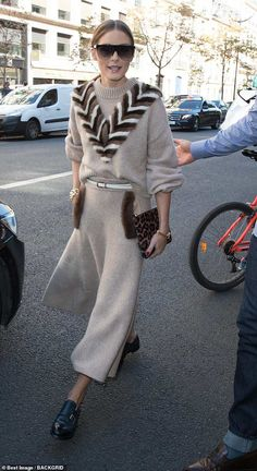 Chic: Olivia Palermo was showing off her quirky sense of style in a chic fur-lined jumper on Thursday as she left her hotel for Paris Fashion Week Olivia Palermo Street Style, Olivia Palermo Outfit, Estilo Olivia Palermo, Olivia Palermo Lookbook, Olivia Palermo Fur, Milan Fashion Weeks, Paris Fashion, Workwear Fashion, Fashion Outfits