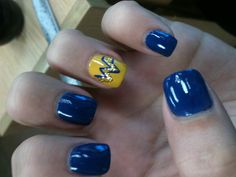 WVU nails perfect for #gameday! @WVU - West Virginia University #WVU #mountaineers #nails