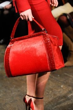 Now THAT IS A HANDBAG!  Donna Karan:  Fire Red Handbag!