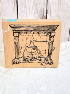 Vintage Large Wood Block Mount Rubber Stamp Gift Box with Bow