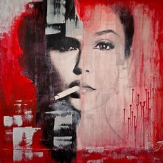 """Judgement"" mixed media painting by LA Artist Anyes Galleani"