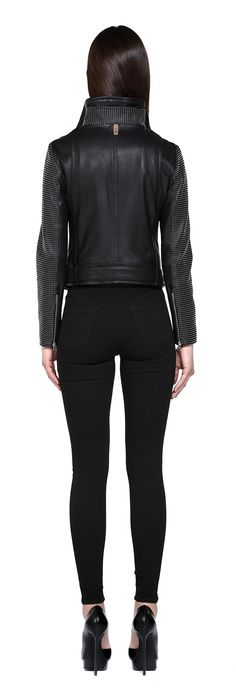 HANIA-ST BLACK WASHED LEATHER JACKET WITH STUDDED SLEEVES AND COLLAR | FOR WOMEN | Mackage