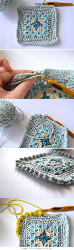 """#Crochet #tutorial -  """"Bobble Border Tutorial - Great for a square edging or to use as a border on many other projects - from Dover & Madden."""" comment via #KnittingGuru"""