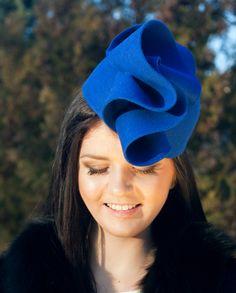 39d3e5cb524 Royal blue hare fur felt pillbox hat