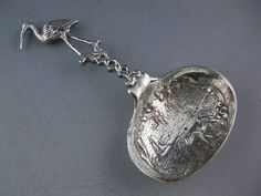 Antique Dutch Silver TEA CADDY SPOON w/ figural Bird handle - hallmarked