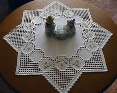 Hardanger + cross stitch embroidered tablecloth *Christmas star* handmade NEW