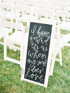 """I have found the one whom my soul does love"" classic wedding sign: http://www.stylemepretty.com/missouri-weddings/2015/12/09/elegant-colorful-springfield-wedding/ | Photography: Jordan Brittley - http://jordanbrittley.com/"