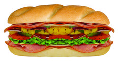 Mr. Hero's Ultimate Italian.  Layers of pepperoni, hot ham, baked ham, and salami layered with provolone cheese, green peppers, banana peppers, lettuce, red onions, ripe tomato, and all topped with Mr. Hero's original blend of Italian oil and spices on a fresh baked roll.  If you love flavor.... it's the ultimate choice for you!