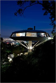 The coolest house. 1960's Chemosphere House in LA. Charlie's Angels was shot here, as well as Lethal Weapon 2.