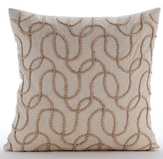 Decorative Throw Pillow Covers Accent Couch Bed Sofa Pillows 18x18 Linen Pillow Case Jute Cord Embroidered Bedroom Home Decor Jute Shoot by TheHomeCentric on Etsy